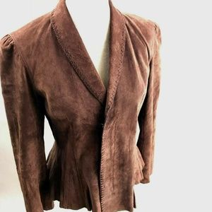 Newport News 100% Suede Leather Jacket Brown EUC